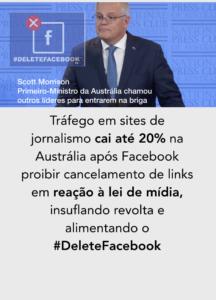 Austrália Scott Morrison #deletefacebook lei de mídia
