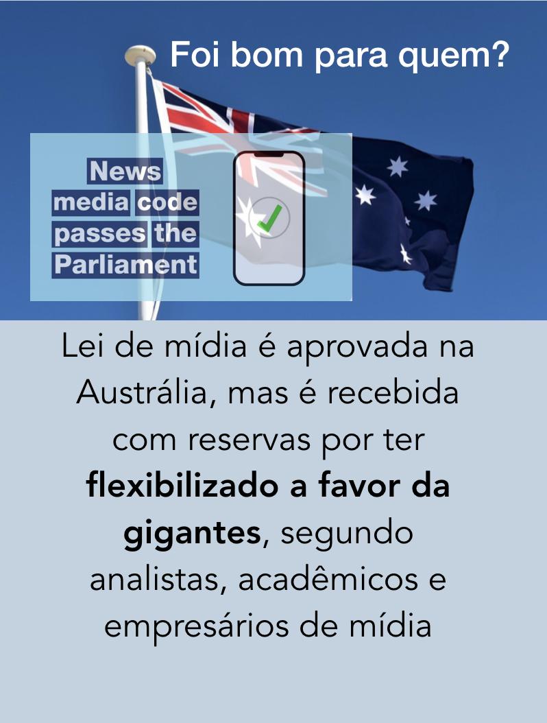 Facebook Google Lei de mídia austrália